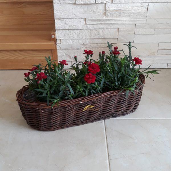 prútený kôš na kvety, kvetináč,